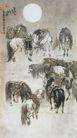 中国现代花鸟0189,中国现代花鸟,山水名画,圆月 马匹