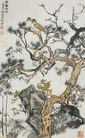 中国现代花鸟0191,中国现代花鸟,山水名画,墨水 麻雀 岩石