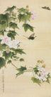 中国现代花鸟0204,中国现代花鸟,山水名画,蝴蝶 采蜜 鲜花