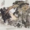 中国现代山水0118,中国现代山水,山水名画,山水 牧童 古树