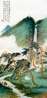 中国现代山水0119,中国现代山水,山水名画,小溪 古人 盘腿