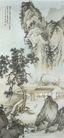 中国现代山水0123,中国现代山水,山水名画,田园画 农户 屋前青树 倚山而居 小道