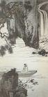 中国现代山水0125,中国现代山水,山水名画,瀑布 笔力 大师作品 扁舟 山峡