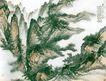 中国现代山水0171,中国现代山水,山水名画,中国典型山水画 深山 碧绿山水