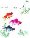 水下动物画0001,水下动物画,山水名画,水底 金鱼 闲游