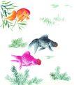 水下动物画0002,水下动物画,山水名画,水草 种类 颜色