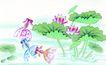 水下动物画0003,水下动物画,山水名画,荷花池 游泳 水生
