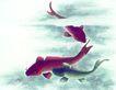 水下动物画0008,水下动物画,山水名画,青鱼 寻食 水下