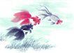 水下动物画0010,水下动物画,山水名画,尾巴 庞大 细草