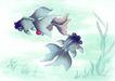 水下动物画0011,水下动物画,山水名画,飘荡 水草 墨绿