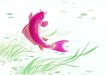 水下动物画0018,水下动物画,山水名画,红色 鲤鱼 翘头