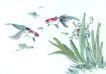 水下动物画0023,水下动物画,山水名画,金鱼 水草 游玩