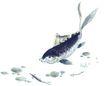 水下动物画0033,水下动物画,山水名画,水池 鱼尾 中国名画