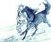 中国动物画0058,中国动物画,山水名画,奔腾 姿势 马路