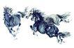 中国动物画0061,中国动物画,山水名画,骏马 马匹 奔腾