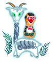中国动物画0062,中国动物画,山水名画,山羊 猴子 青草
