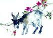 中国动物画0063,中国动物画,山水名画,羚羊 树枝 红花