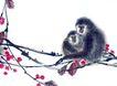 中国动物画0068,中国动物画,山水名画,猴子 树枝 玩耍