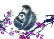 中国动物画0069,中国动物画,山水名画,动物园 金丝猴 可爱