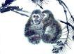 中国动物画0071,中国动物画,山水名画,猴子 小声 悄悄话