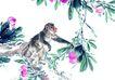 中国动物画0073,中国动物画,山水名画,小猴 攀附 桃枝