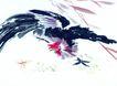 中国动物画0077,中国动物画,山水名画,黑色 公鸡 扑翅
