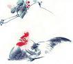中国动物画0079,中国动物画,山水名画,白色 鸡身 蓝羽