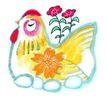 中国动物画0080,中国动物画,山水名画,母鸡 闭眼 生蛋