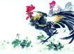 中国动物画0083,中国动物画,山水名画,生态 公鸡 吃食