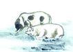 中国动物画0093,中国动物画,山水名画,池塘 猪娃娃 洗澡