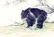 中国动物画0099,中国动物画,山水名画,树枝 觅食 狗熊