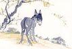 中国动物画0100,中国动物画,山水名画,小鹿 山间 小路