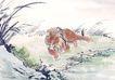 中国动物画0108,中国动物画,山水名画,一只狮子 躺在草坪上 棕色毛