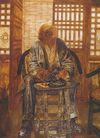 中国现代人物0193,中国现代人物,山水名画,凳子 门窗 老人