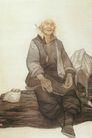 中国现代人物0196,中国现代人物,山水名画,慈母 困 老妇人