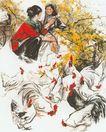 中国现代人物0205,中国现代人物,山水名画,农家 交谈 公鸡