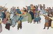 中国现代人物0227,中国现代人物,山水名画,集市 街道