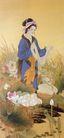 中国现代人物0234,中国现代人物,山水名画,水边 荷花 农妇