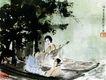傅抱石作品集0069,傅抱石作品集,中国传世名画,船头 歌女 琵琶