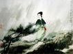 傅抱石作品集0075,傅抱石作品集,中国传世名画,风雨 女子 回顾