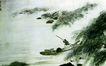 傅抱石作品集0105,傅抱石作品集,中国传世名画,湖面 山边 一条小船