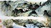 傅抱石作品集0107,傅抱石作品集,中国传世名画,山脚下 小河 小亭子