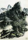 黄宾虹作品集0069,黄宾虹作品集,中国传世名画,山峰 绿树 山顶
