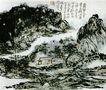 黄宾虹作品集0102,黄宾虹作品集,中国传世名画,山峰 几户人家 一条小河