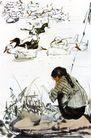 黄胃作品集0089,黄胃作品集,中国传世名画,动物 水岸 背影