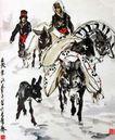 黄胃作品集0097,黄胃作品集,中国传世名画,毛驴 农妇 货物