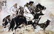 黄胃作品集0099,黄胃作品集,中国传世名画,狼狗 雪地 打猎
