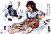 黄胃作品集0111,黄胃作品集,中国传世名画,人物画 女孩 公鸡
