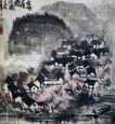 李可染作品集0085,李可染作品集,中国传世名画,房屋 民众 生活