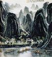 李可染作品集0090,李可染作品集,中国传世名画,展出 船头 名画